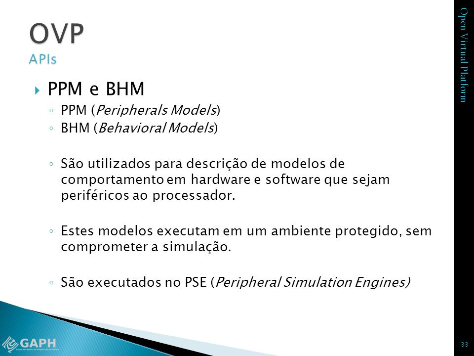 OVP APIs PPM e BHM PPM (Peripherals Models) BHM (Behavioral Models)