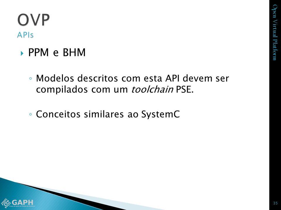OVP APIs PPM e BHM. Modelos descritos com esta API devem ser compilados com um toolchain PSE. Conceitos similares ao SystemC.
