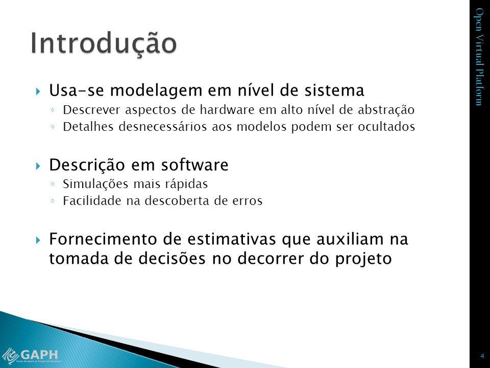 Introdução Usa-se modelagem em nível de sistema Descrição em software