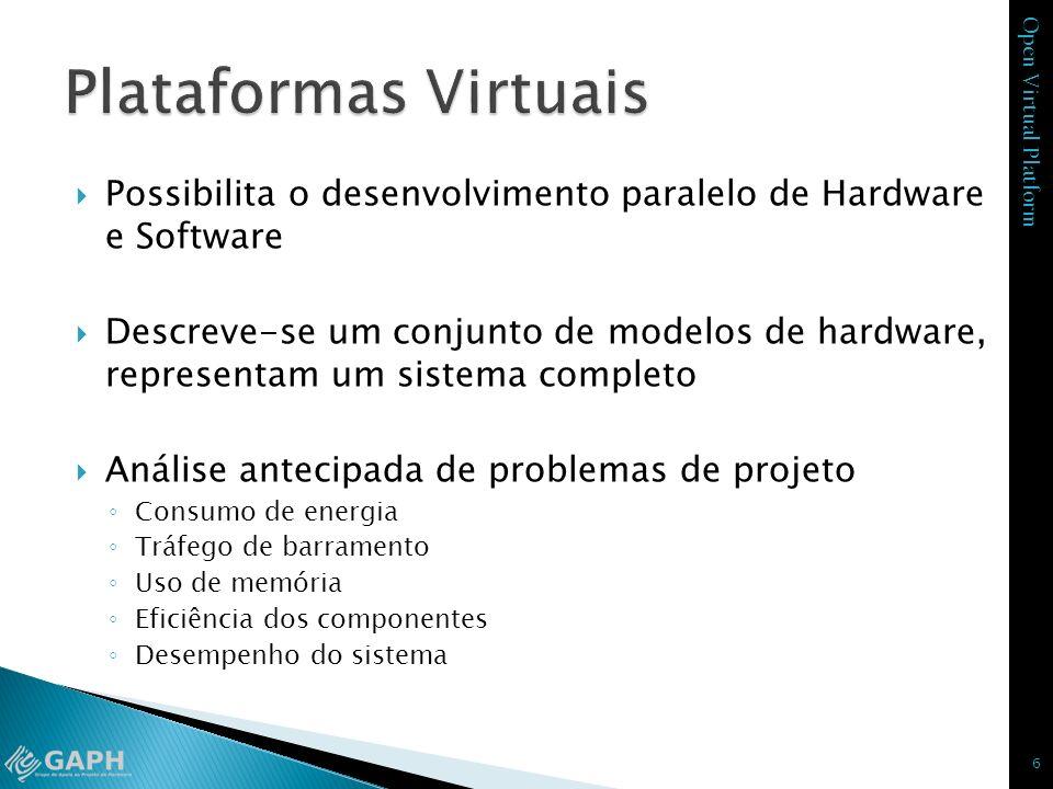 Plataformas Virtuais Possibilita o desenvolvimento paralelo de Hardware e Software.