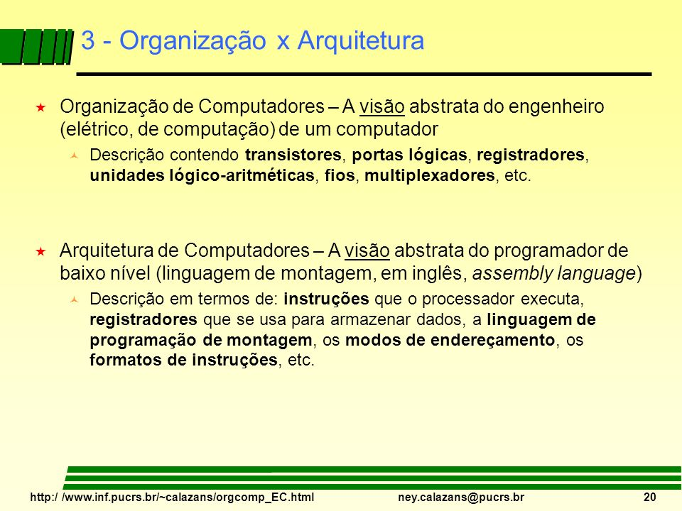 3 - Organização x Arquitetura