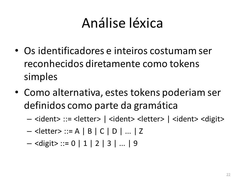 Análise léxica Os identificadores e inteiros costumam ser reconhecidos diretamente como tokens simples.