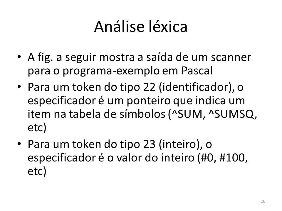 Análise léxica A fig. a seguir mostra a saída de um scanner para o programa-exemplo em Pascal.