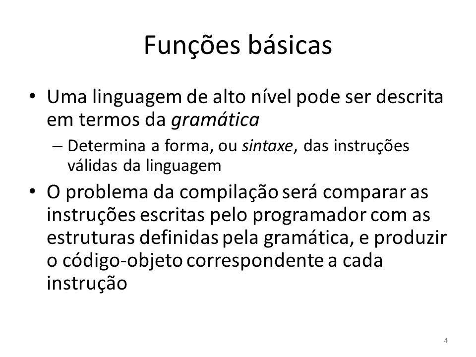 Funções básicas Uma linguagem de alto nível pode ser descrita em termos da gramática.