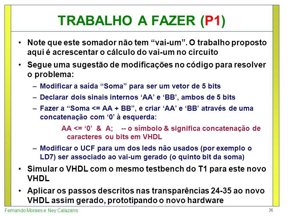 TRABALHO A FAZER (P1) Note que este somador não tem vai-um . O trabalho proposto aqui é acrescentar o cálculo do vai-um no circuito.