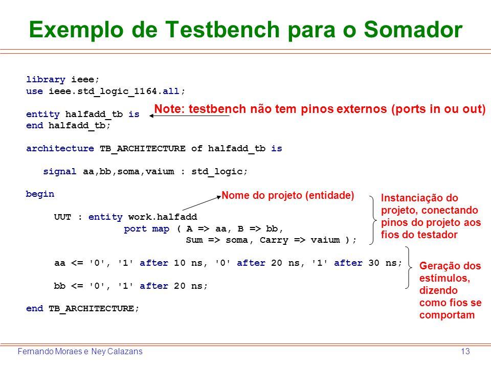 Exemplo de Testbench para o Somador