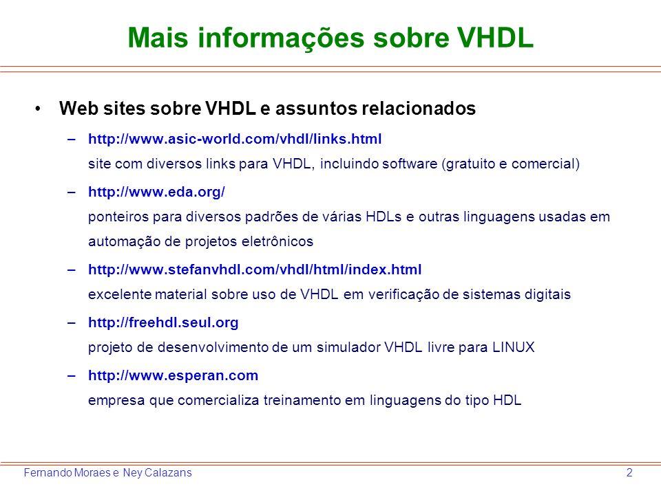 Mais informações sobre VHDL
