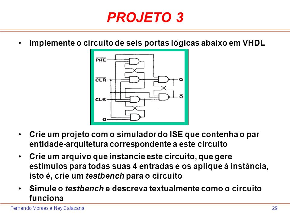 PROJETO 3 Implemente o circuito de seis portas lógicas abaixo em VHDL