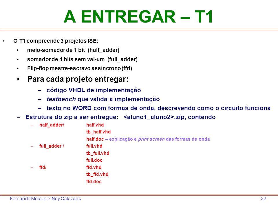 A ENTREGAR – T1 Para cada projeto entregar: