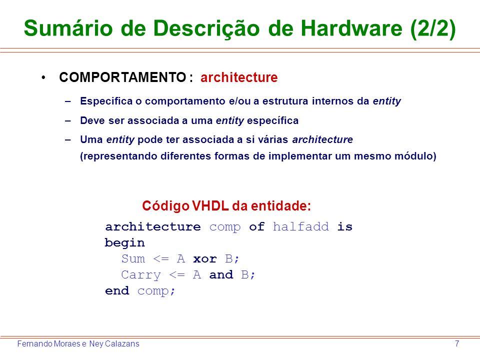 Sumário de Descrição de Hardware (2/2)
