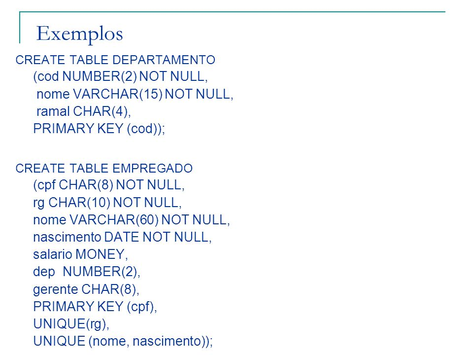 Exemplos (cod NUMBER(2) NOT NULL, nome VARCHAR(15) NOT NULL,