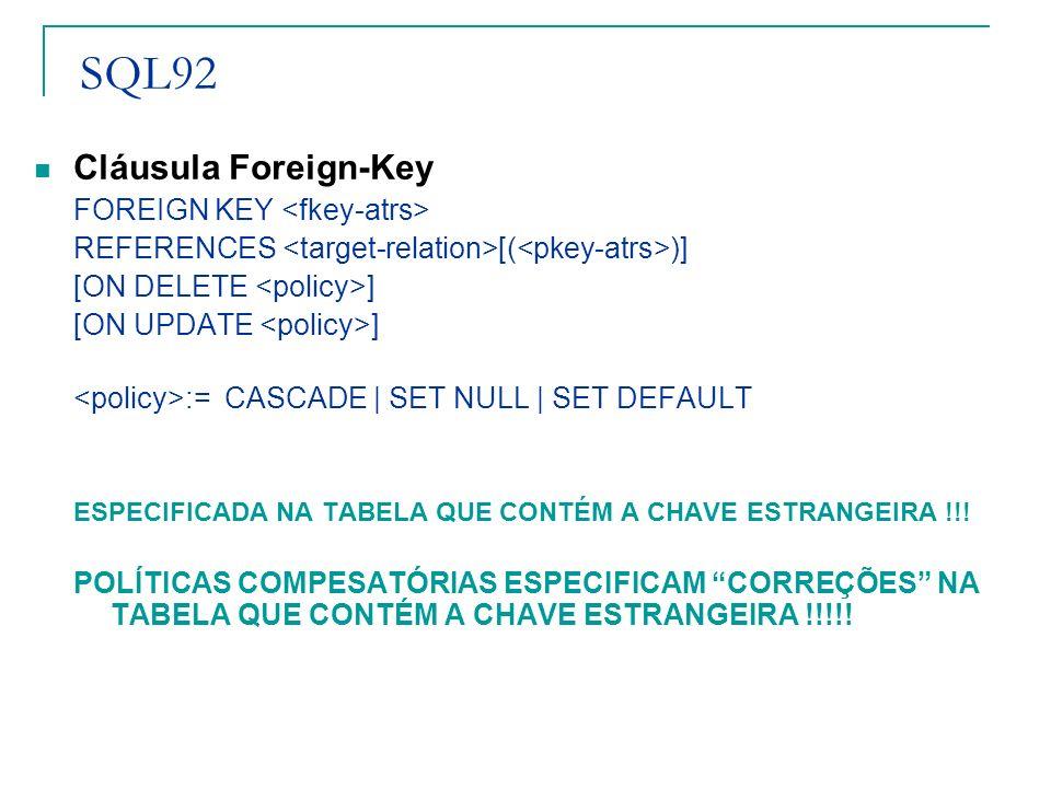 SQL92 Cláusula Foreign-Key FOREIGN KEY <fkey-atrs>