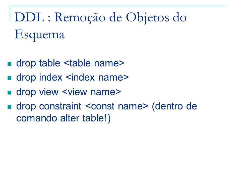 DDL : Remoção de Objetos do Esquema