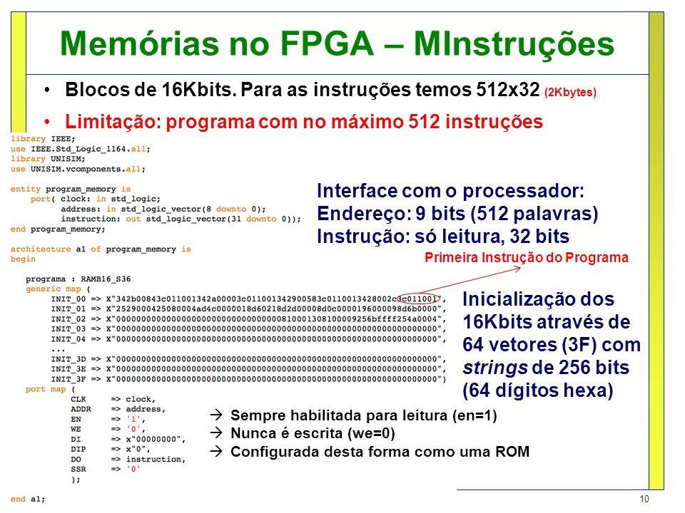 Memórias no FPGA – MInstruções