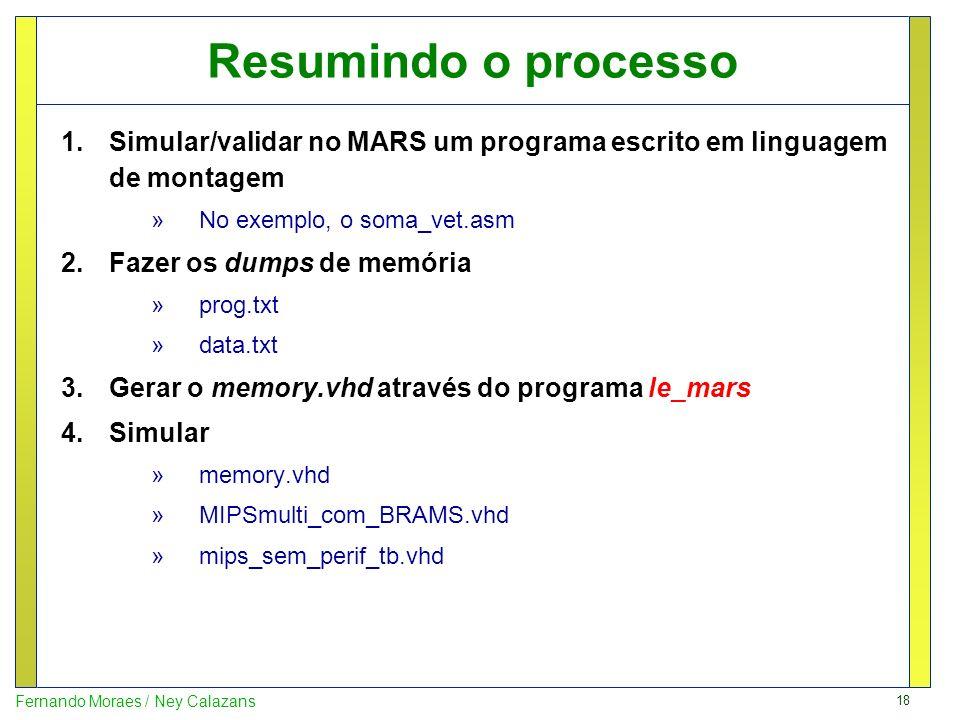 Resumindo o processoSimular/validar no MARS um programa escrito em linguagem de montagem. No exemplo, o soma_vet.asm.