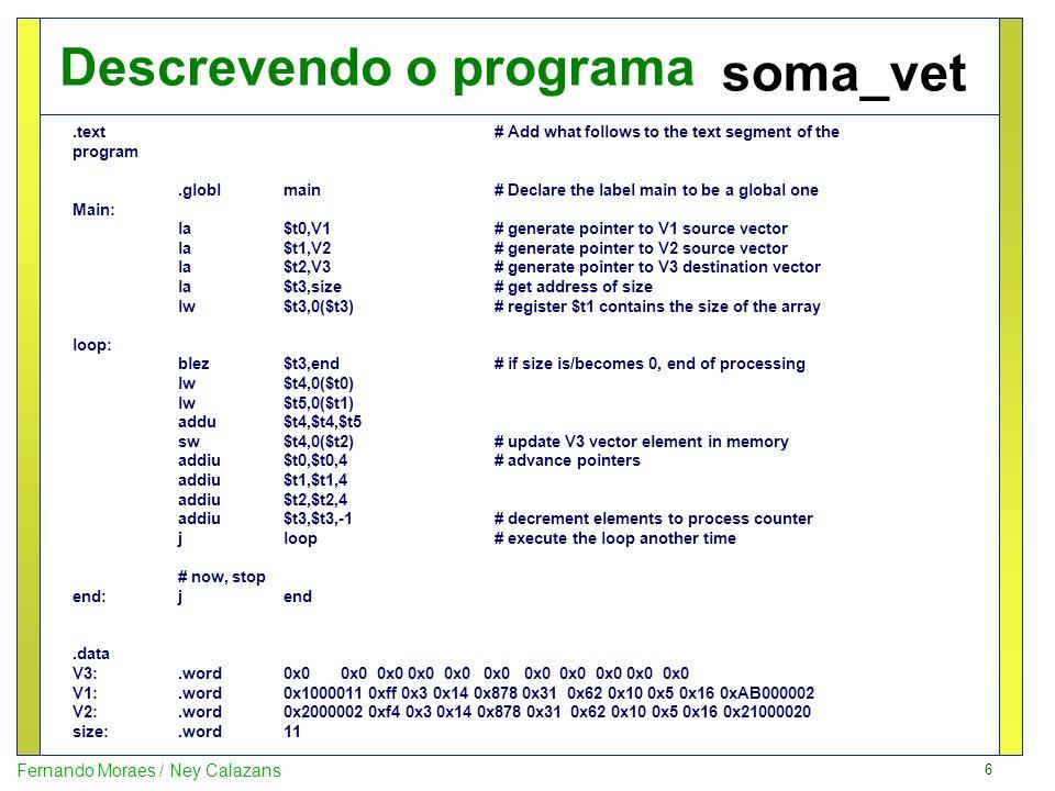 Descrevendo o programa soma_vet