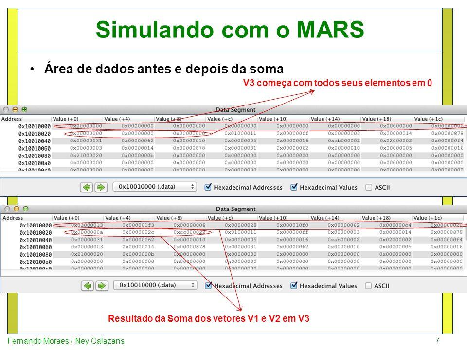 Simulando com o MARS Área de dados antes e depois da soma