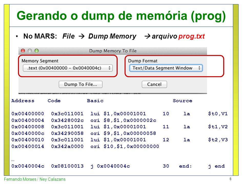 Gerando o dump de memória (prog)
