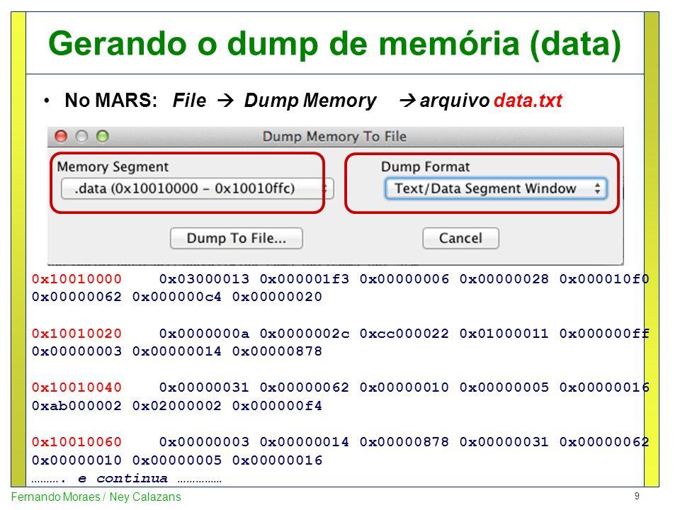 Gerando o dump de memória (data)