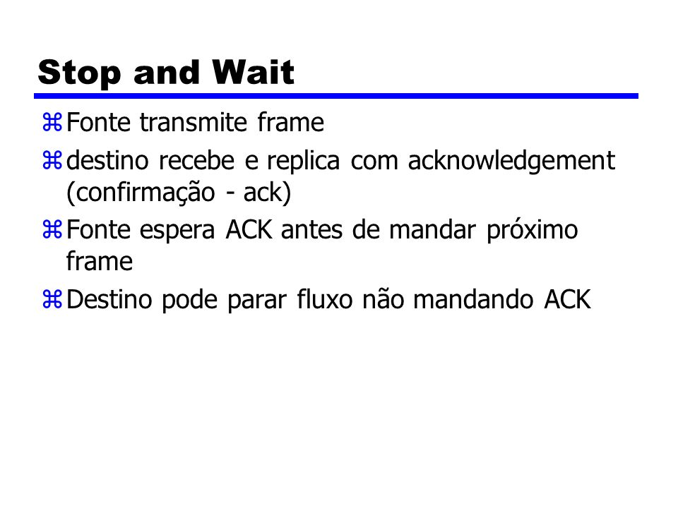 Stop and Wait Fonte transmite frame