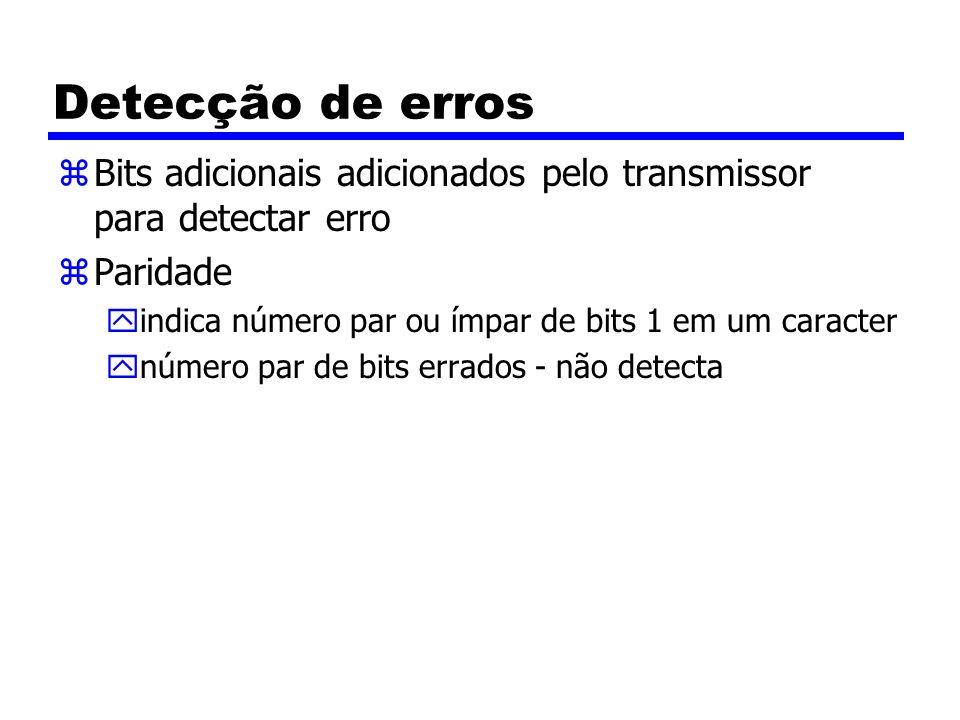 Detecção de erros Bits adicionais adicionados pelo transmissor para detectar erro. Paridade. indica número par ou ímpar de bits 1 em um caracter.