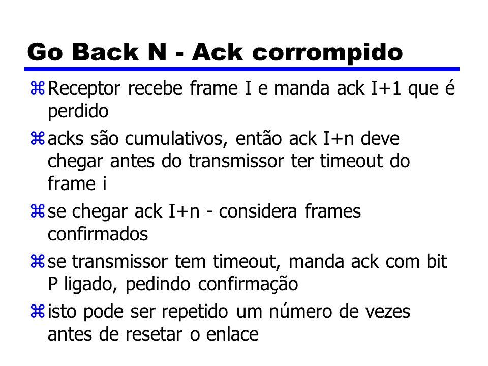 Go Back N - Ack corrompido