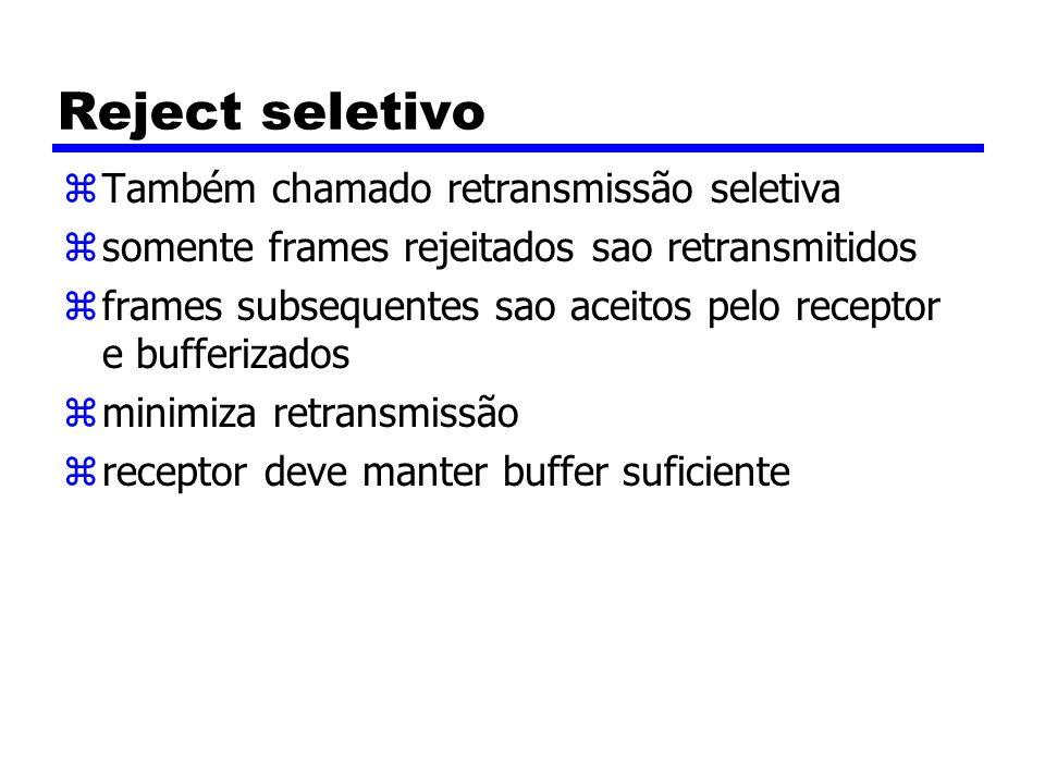 Reject seletivo Também chamado retransmissão seletiva