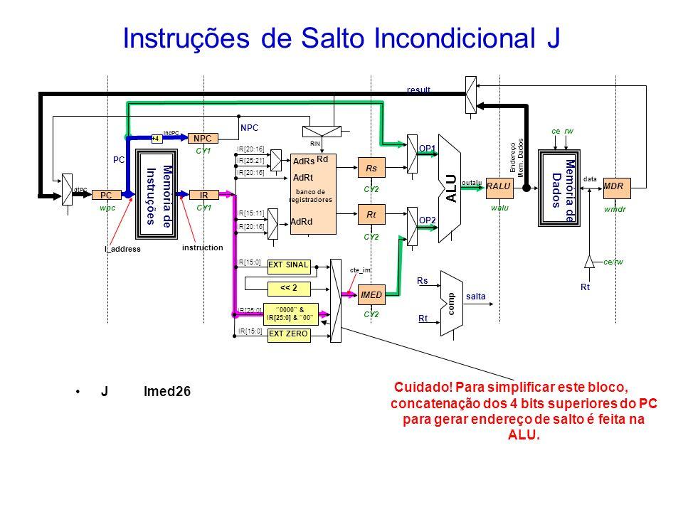 Instruções de Salto Incondicional J