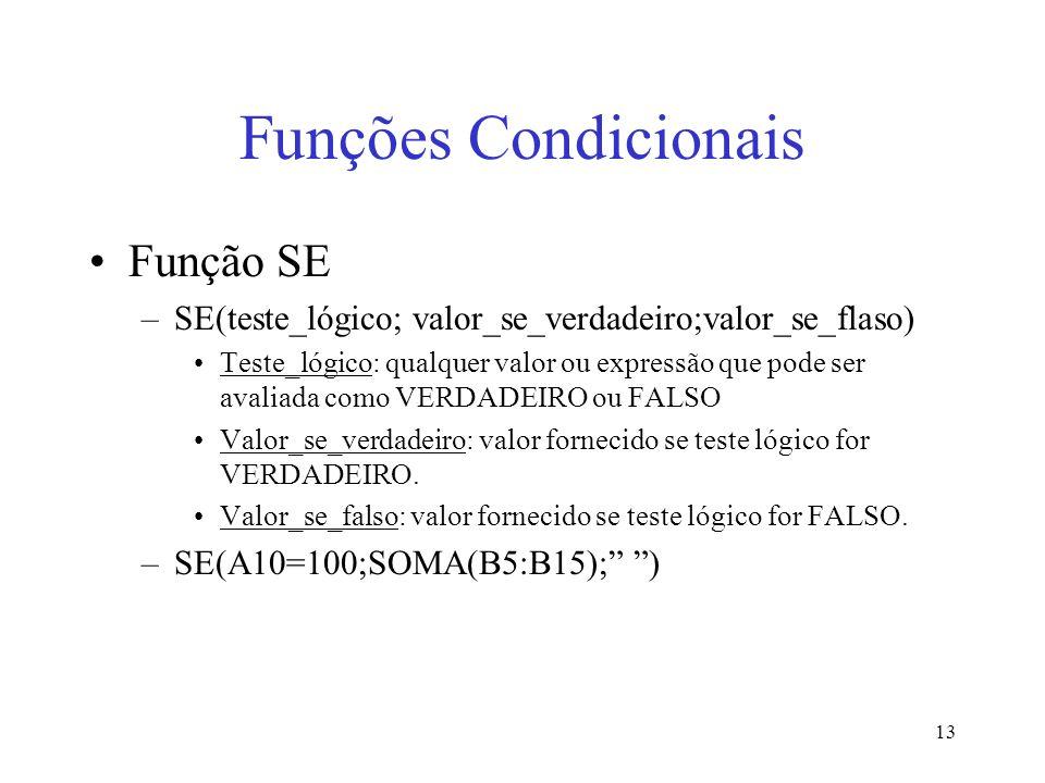 Funções Condicionais Função SE