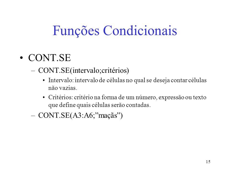 Funções Condicionais CONT.SE CONT.SE(intervalo;critérios)
