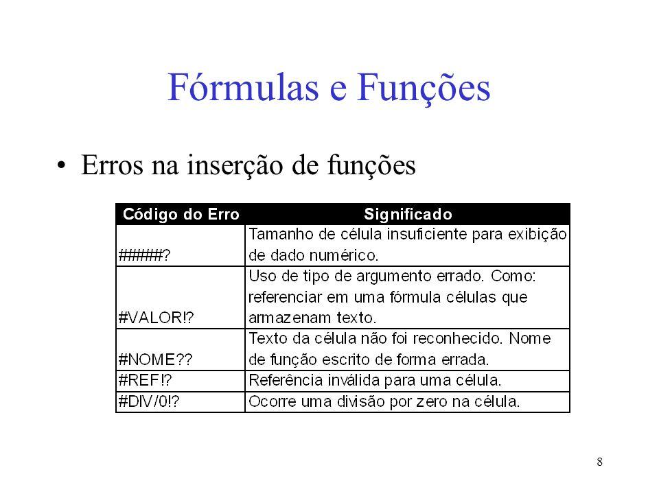 Fórmulas e Funções Erros na inserção de funções