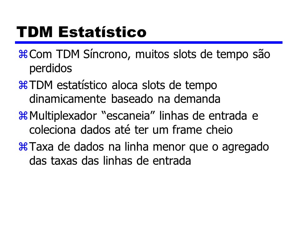 TDM Estatístico Com TDM Síncrono, muitos slots de tempo são perdidos