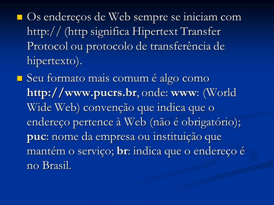 Os endereços de Web sempre se iniciam com http:// (http significa Hipertext Transfer Protocol ou protocolo de transferência de hipertexto).