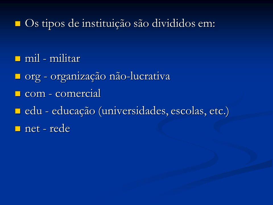 Os tipos de instituição são divididos em: