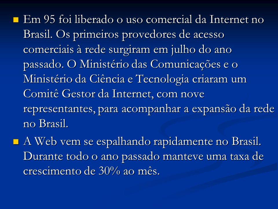 Em 95 foi liberado o uso comercial da Internet no Brasil