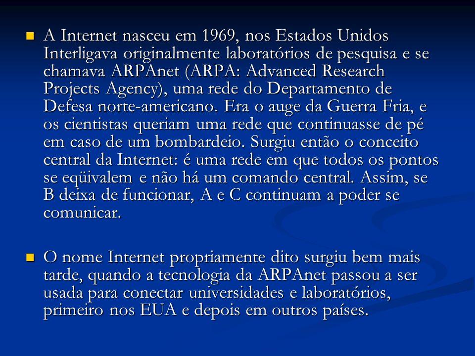 A Internet nasceu em 1969, nos Estados Unidos Interligava originalmente laboratórios de pesquisa e se chamava ARPAnet (ARPA: Advanced Research Projects Agency), uma rede do Departamento de Defesa norte-americano. Era o auge da Guerra Fria, e os cientistas queriam uma rede que continuasse de pé em caso de um bombardeio. Surgiu então o conceito central da Internet: é uma rede em que todos os pontos se eqüivalem e não há um comando central. Assim, se B deixa de funcionar, A e C continuam a poder se comunicar.