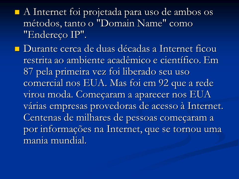 A Internet foi projetada para uso de ambos os métodos, tanto o Domain Name como Endereço IP .