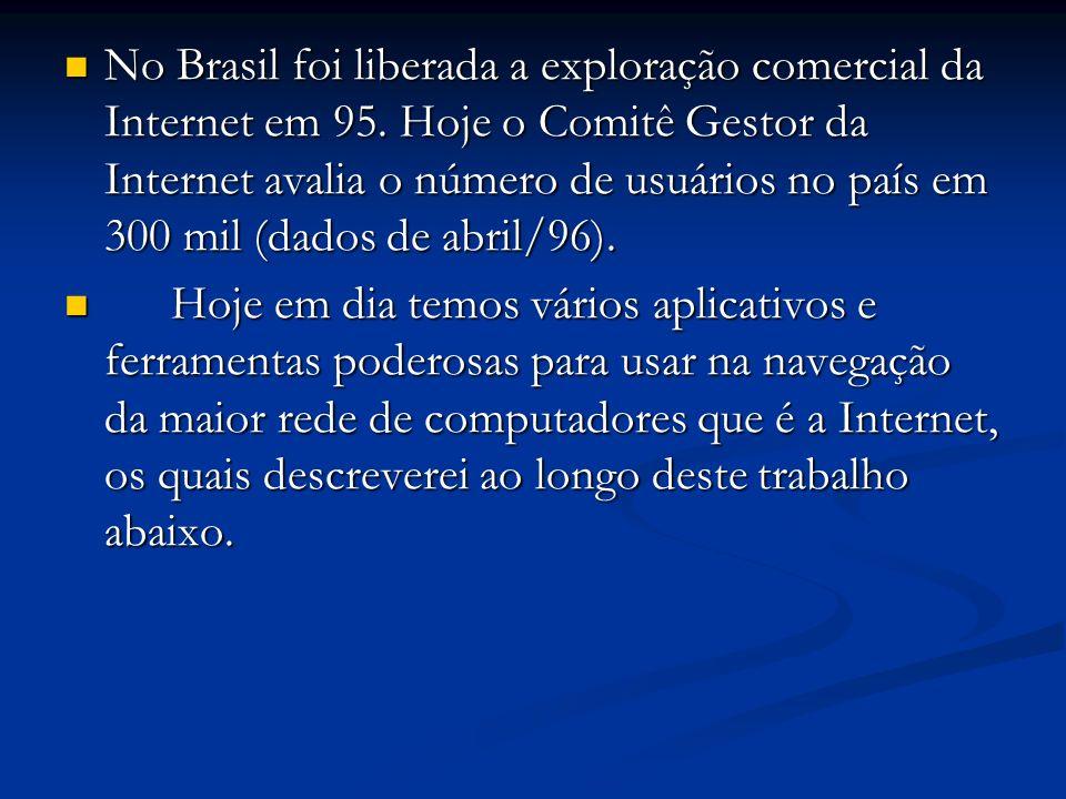 No Brasil foi liberada a exploração comercial da Internet em 95