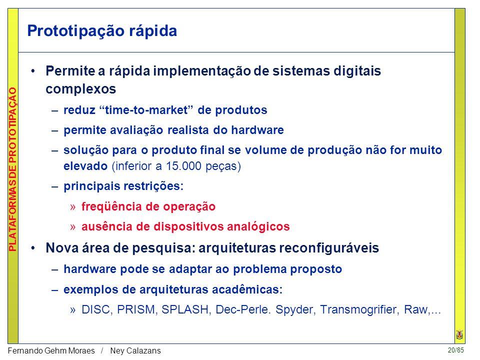 Prototipação rápidaPermite a rápida implementação de sistemas digitais complexos. reduz time-to-market de produtos.