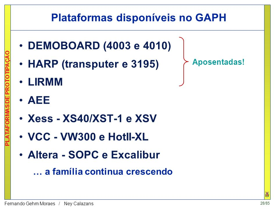 Plataformas disponíveis no GAPH