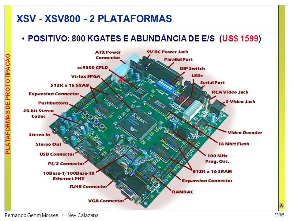 XSV - XSV800 - 2 PLATAFORMAS POSITIVO: 800 KGATES E ABUNDÂNCIA DE E/S (US$ 1599)