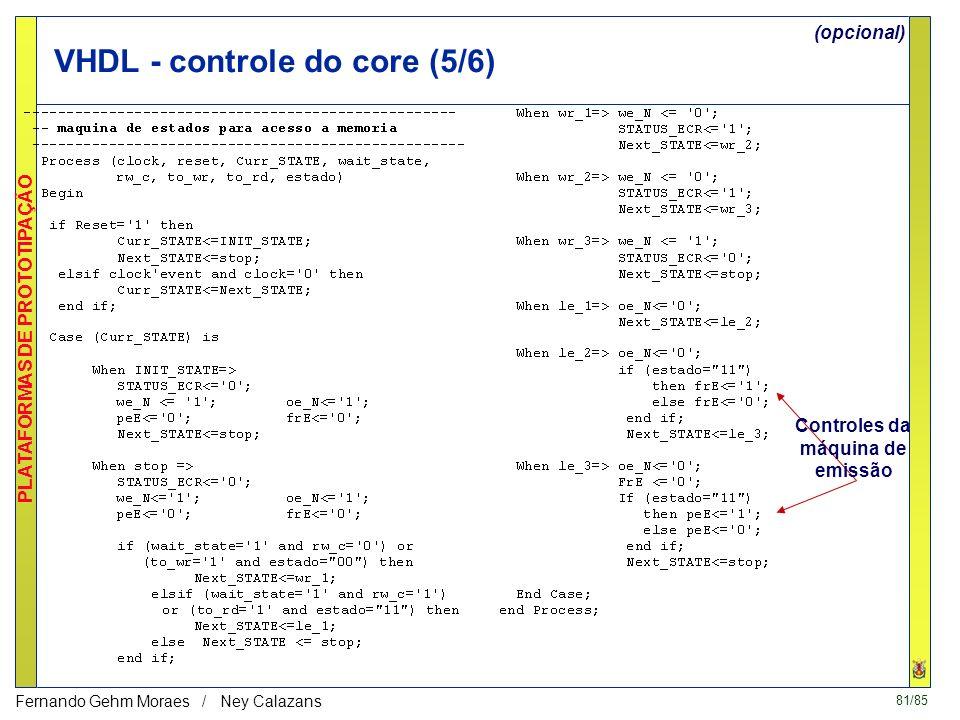 VHDL - controle do core (5/6)