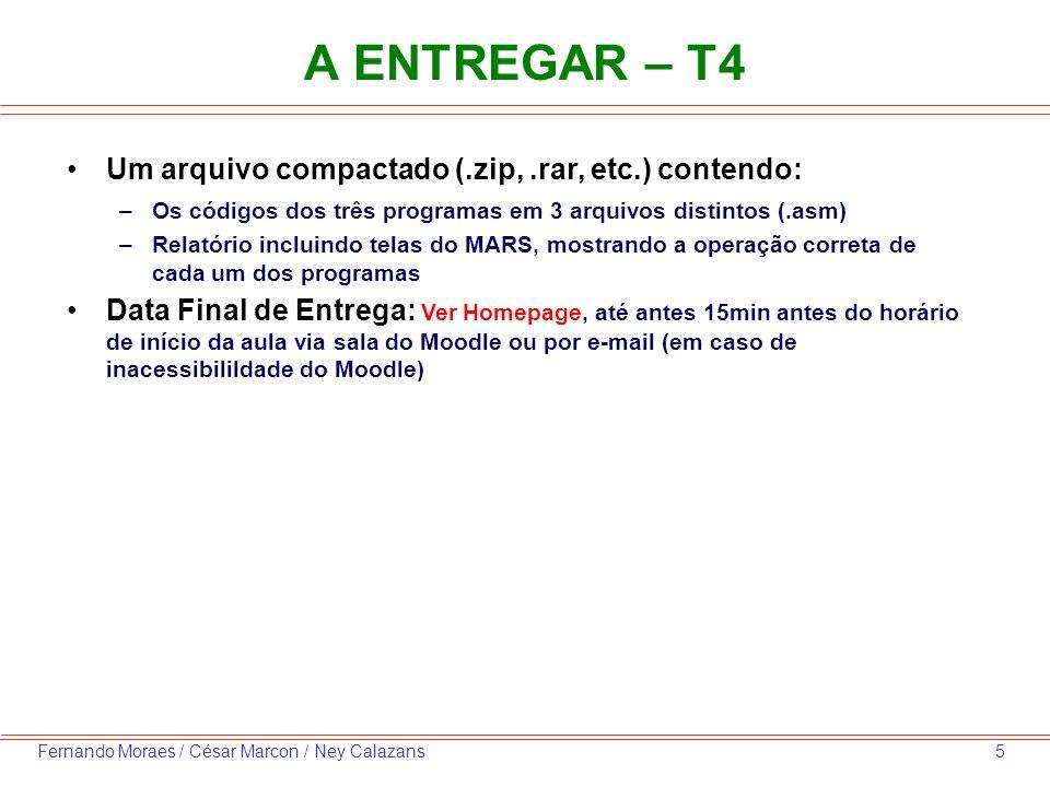 A ENTREGAR – T4 Um arquivo compactado (.zip, .rar, etc.) contendo: