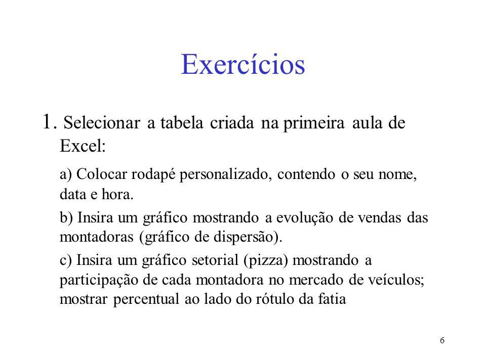 Exercícios 1. Selecionar a tabela criada na primeira aula de Excel:
