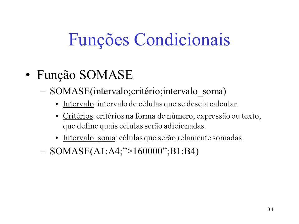 Funções Condicionais Função SOMASE