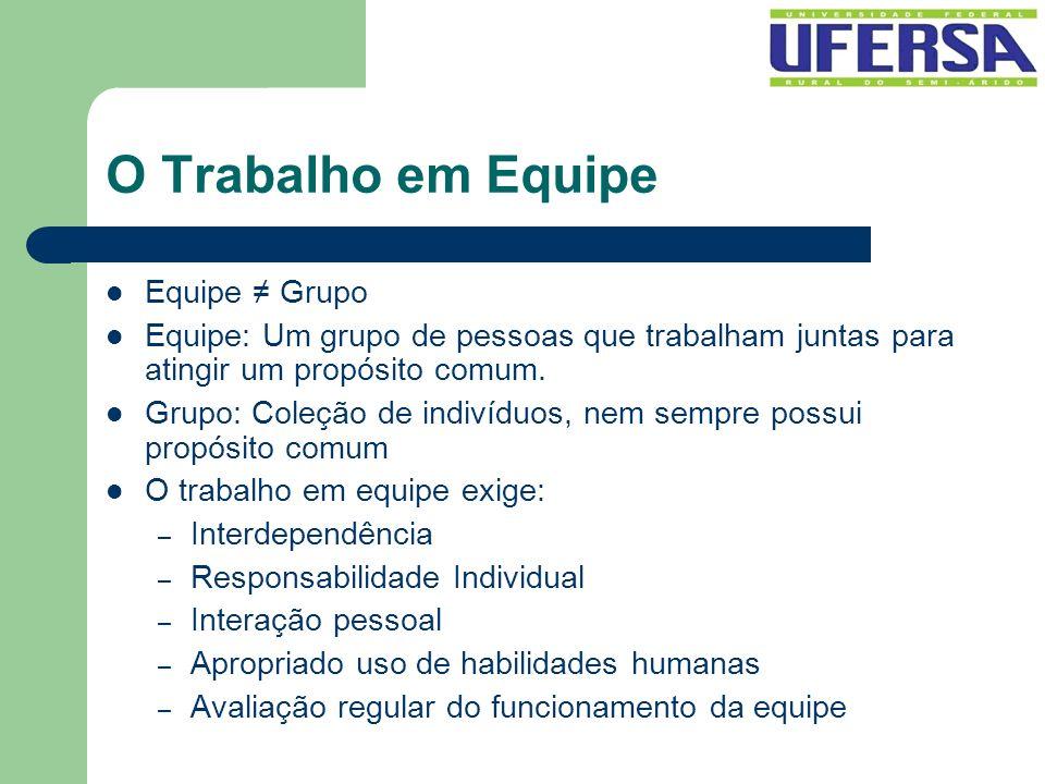 O Trabalho em Equipe Equipe ≠ Grupo