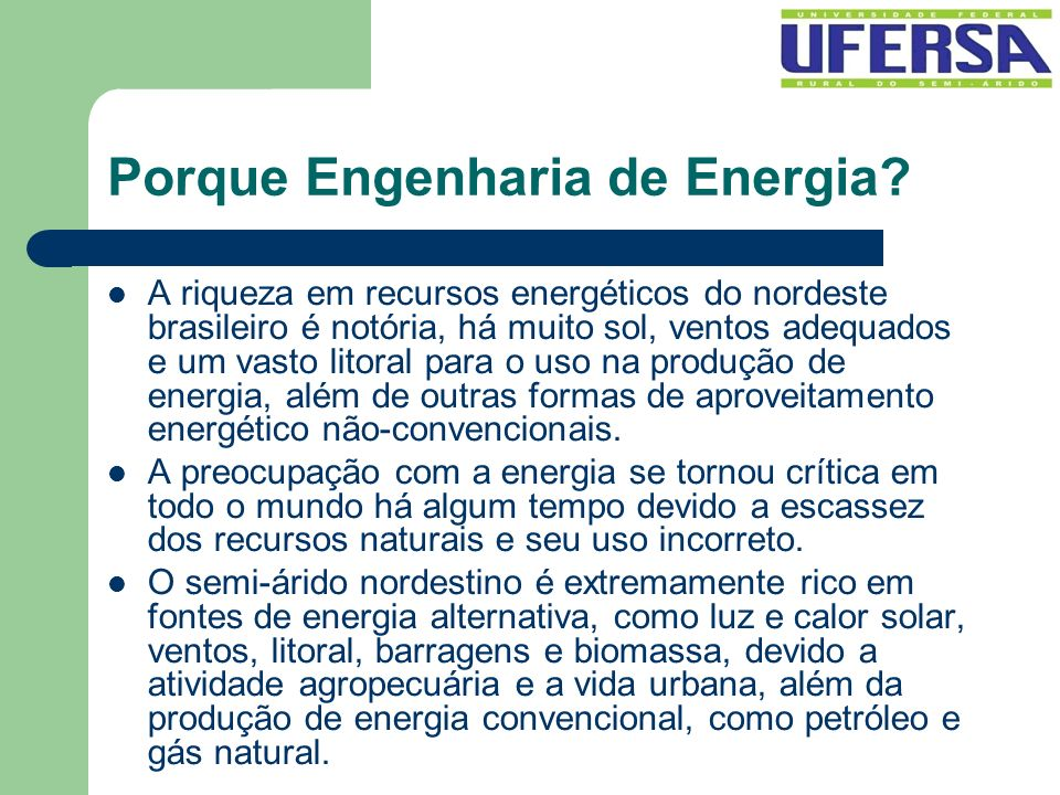 Porque Engenharia de Energia