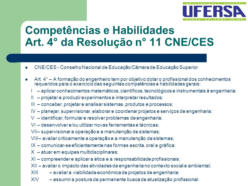 Competências e Habilidades Art. 4° da Resolução n° 11 CNE/CES