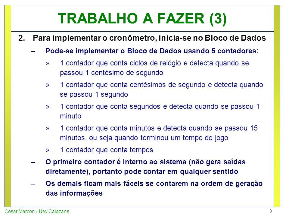 TRABALHO A FAZER (3) Para implementar o cronômetro, inicia-se no Bloco de Dados. Pode-se implementar o Bloco de Dados usando 5 contadores: