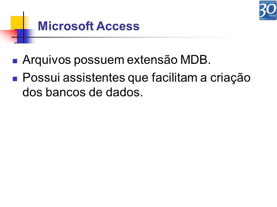 Microsoft Access Arquivos possuem extensão MDB.